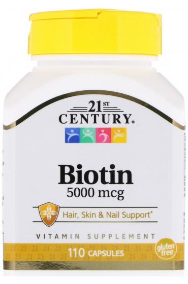 21st Century, Биотин, 5000 мкг, 110 капсул В НАЛИЧИИ