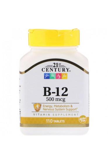 21st Century, Витамин B-12, 500 мкг, 110 таблеток В НАЛИЧИИ